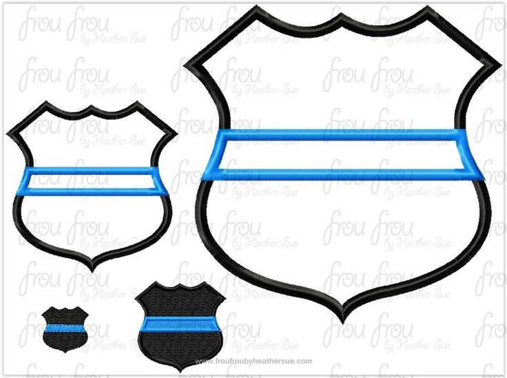 """Police Badge With Thin Blue Line Machine Applique and filled Embroidery Design, Multiple Sizes, including 1""""-16"""""""