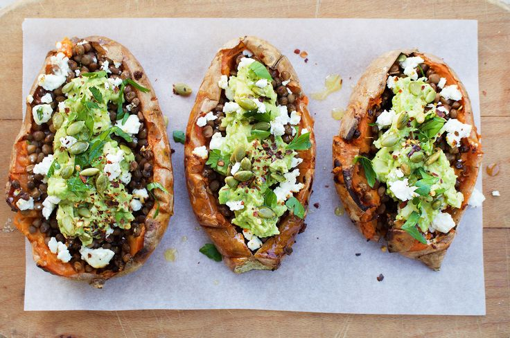 There's just something so comforting about a cooked sweet potato, filled with wholesome lentils, smashed avocado and soft, melted goats cheese. Perfect for chilly winter nights when you want a no-f…