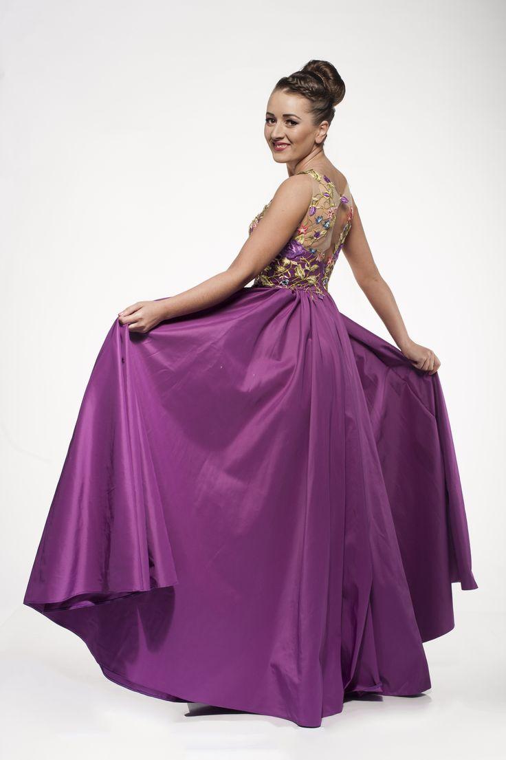 Purple maxi lace floral dress
