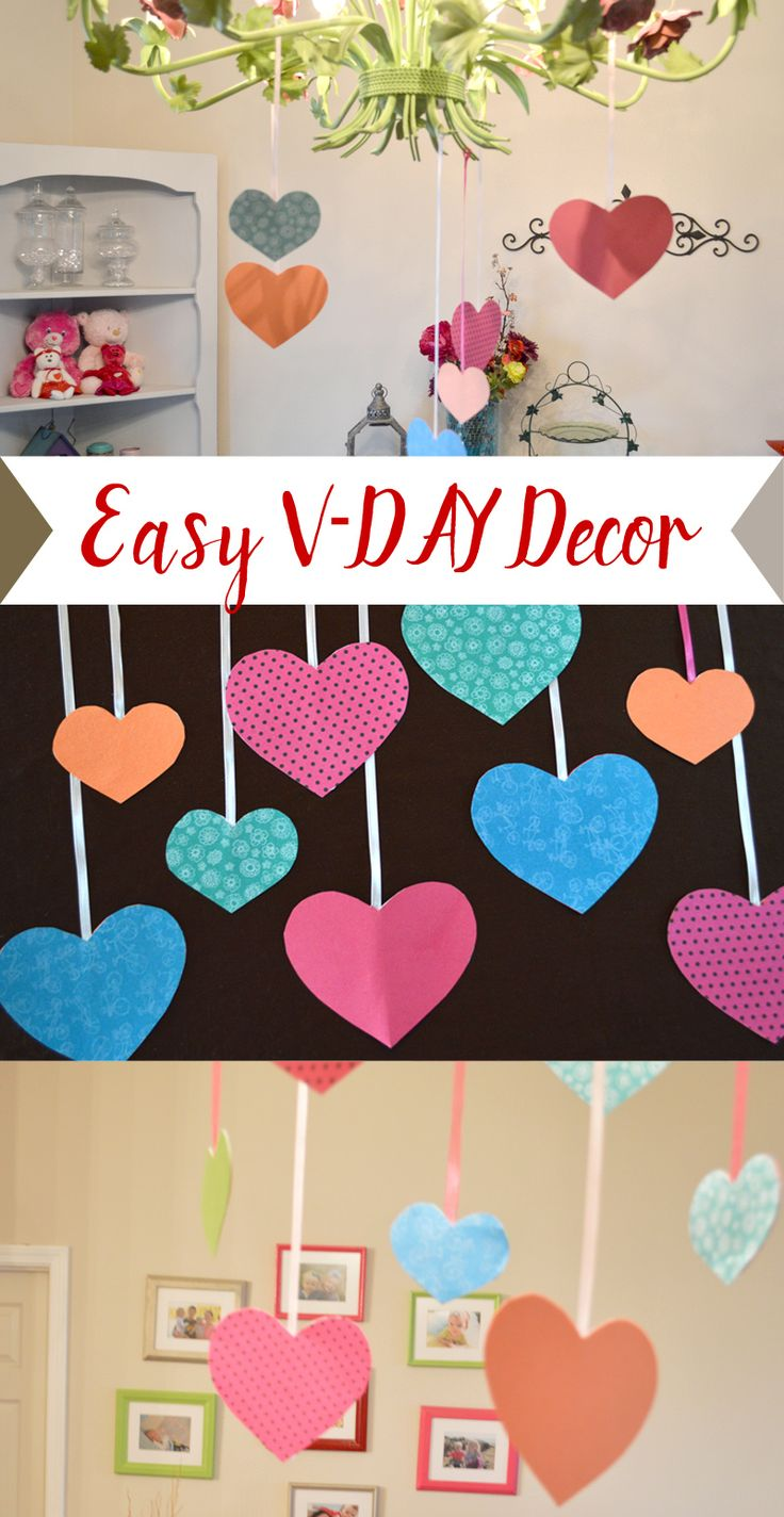 Easy Valentine's Day decor paper hearts with ribbon
