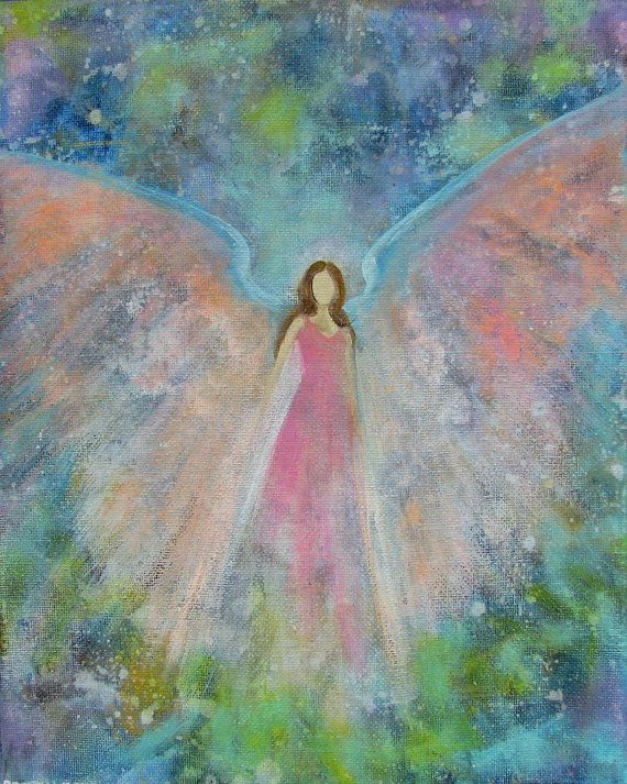 Original Acrylic Painting Healing Energy Angel 8 x 10 by BrydenArt