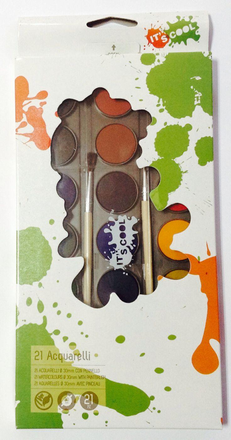 Акварельные краски.  Набор 21 цвет с натуральными кисточками - В пластиковом пенале - Яркие и насыщенные цвета - Картонная коробка с европодвесом.    ещё фото: http://kanztovary.tumblr.com/post/84916589542