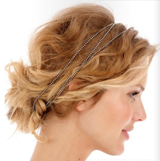BM hair with a blue or grey headband?