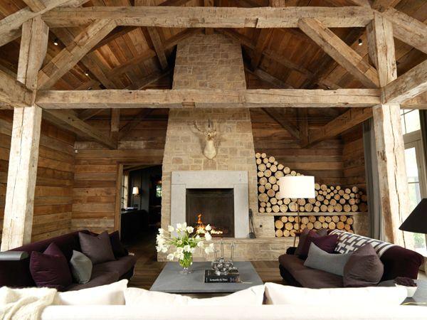 reclaimed beams. fireplace. wood storage. : Stones Fireplaces, Living Rooms, Expo Beams, Interiors Design, Wood Storage, Deer Head, Logs Cabins, Mountain Home, Wood Beams