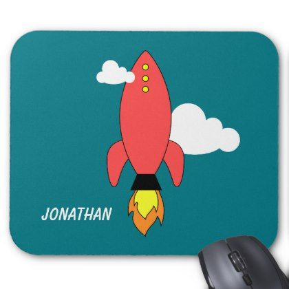 Red Cartoon Rocket, nice and cute Personalized Mouse Pads for children #nice #cute #personalized #forchildren