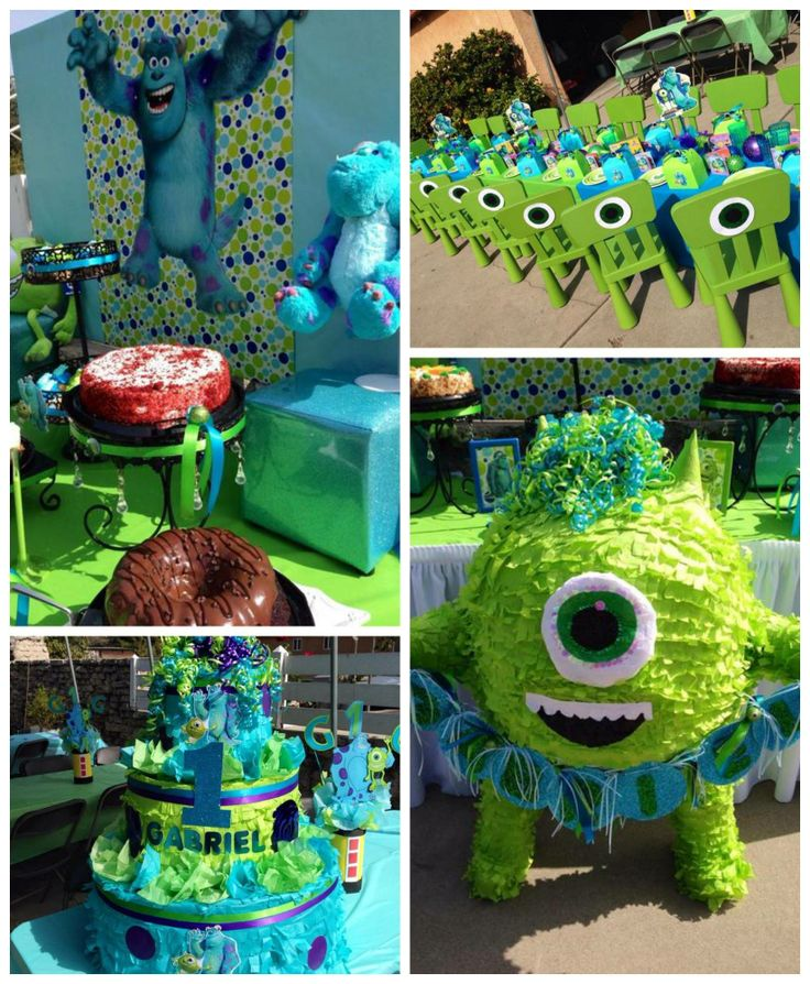 Monsters Inc. 1st birthday party ideas for a boy birthday! See the whole party on Catch My Party here: http://catchmyparty.com/parties/gabriels-first-birthday-celebration #monstersinc #boybirthday
