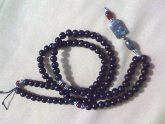 Heavy Black Agate 108 Bead Yoga Mala with Lingam -shop supports education in rural india