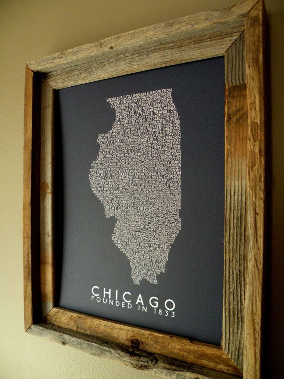 History of Chicago Word Map by fortheloveofmaps on Etsy