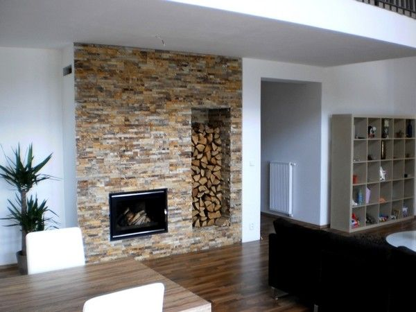 1000 ideas about modern stone fireplace on pinterest for Walk in fireplace designs