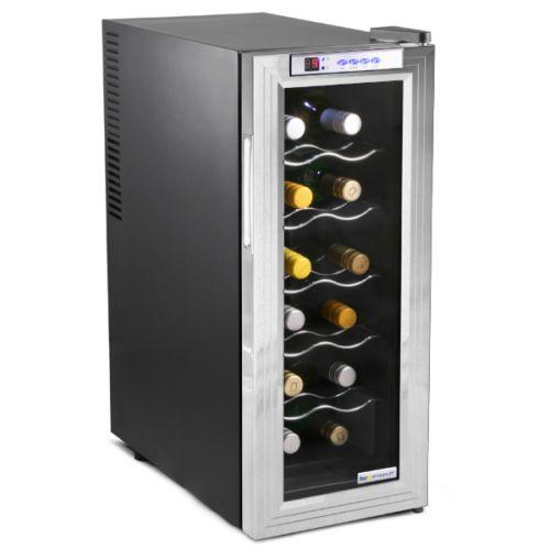 Sommelier 12 Bottle Wine Cellar Black and Silver 35ltr