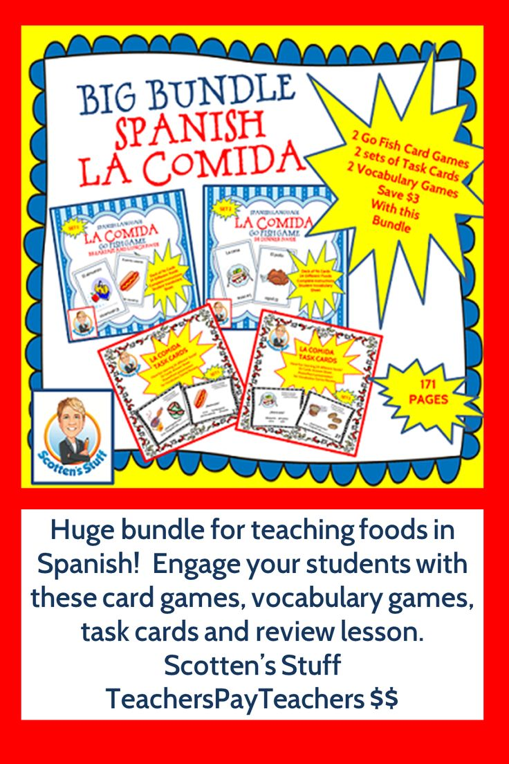 Engage your students while they learn the Spanish words for different foods.  Go fish games, task cards and vocabulary review game all included in this La Comida Bundle. Save $3!