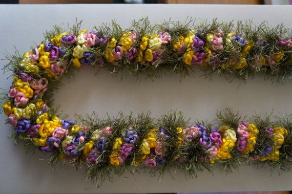 Lavender / Pink / Yellow / Gold Rosette Twisted Crochet Hawaiian Lei