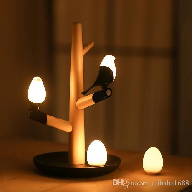 Cool Novelty Night Light Cute Bird Tree LED Night Light Table Lamps Wall Light Intelligent Light Motion Sensor Night Lights USB Rechargeable Lamp