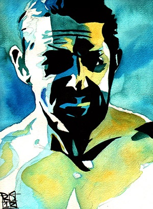 "Wade Barrett l Ink and watercolor on 9"" x 12"" watercolor paper"