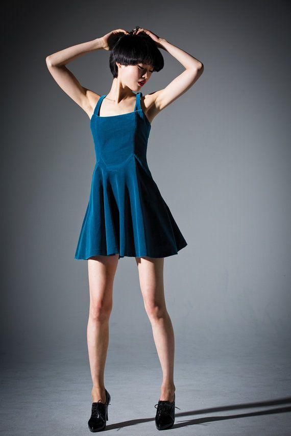 Velvet Flare Dress  Royal blue // cocktail dress by DRESSbyEnlee