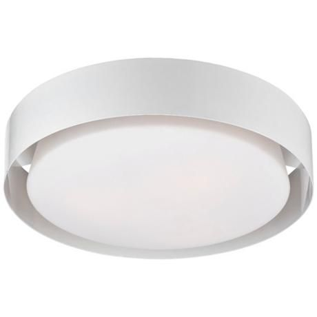 "Saturn Collection 15 1/2"" Wide White Ceiling LightWhite finish. Opal white glass. Flushmount design. Three maximum 60 watt or equivalent bulbs (not included). $208 15 1/2"" wide. 4 3/4"" high."