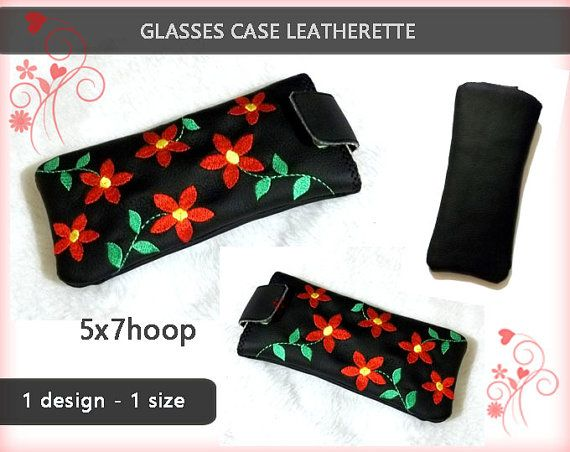 Glasses case leatherette No.237  5x7hoop  by EmbroideryRady