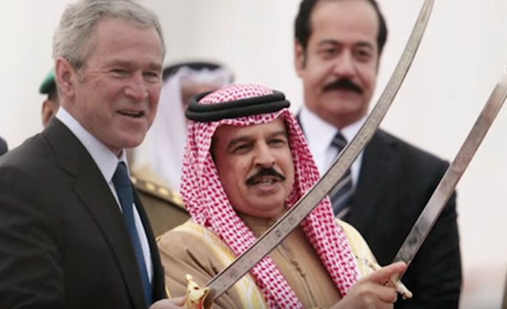 Inside Saudi Arabia Butchery Slavery History of Revolt Empire President Bush is shown how to hold an execution type sword. Screen snapshot on…