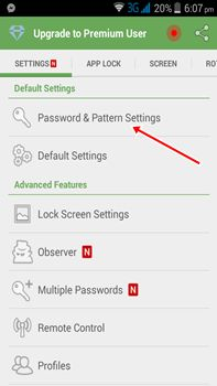 Password and pattern settings