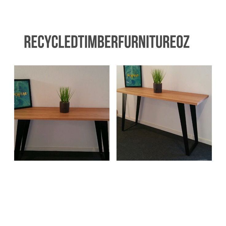 Recycled messmate hall console with angled black flat bar metal legs