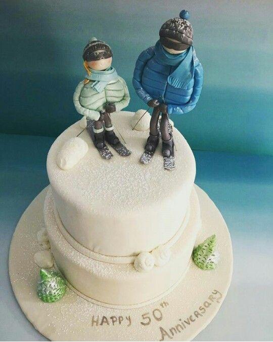 Skiing Wedding Anniversary Cake