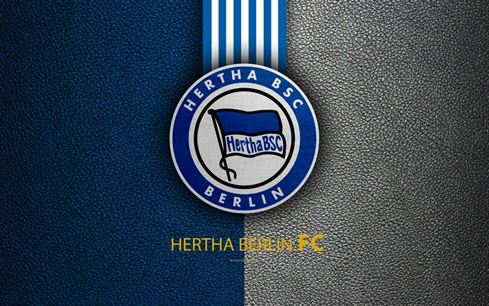 Download wallpapers Hertha Berlin FC, 4K, German football club, Bundesliga, leather texture, emblem, Hertha BSC logo, Berlin, Germany, German Football Championships