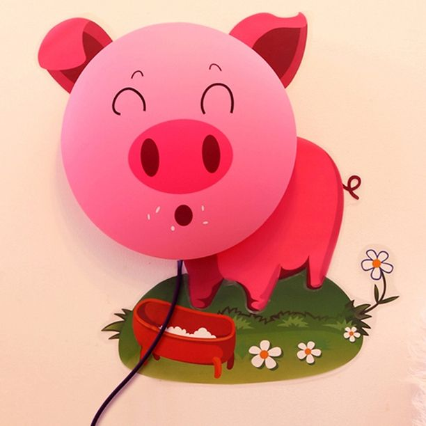 28.84$  Buy here - http://alipmc.shopchina.info/go.php?t=1872384233 - 2014 Supernova Sale Gift for Kid Cartoon Pig 25w 3D Wall Stick Light Child Kid Removable Diy Paper Wall Lamp For Children Room  #buymethat