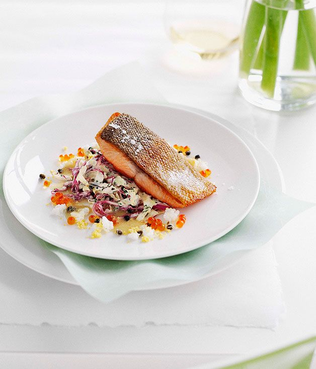 Australian Gourmet Traveller and Stamps restaurant recipe for pan-fried ocean trout with cabbage remoulade #seafood