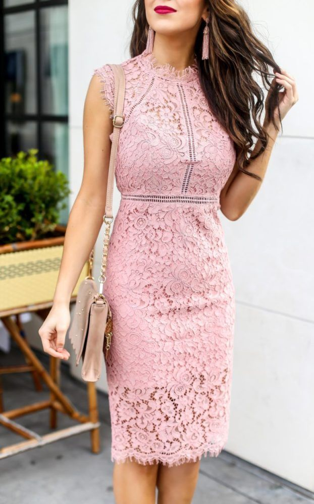 Beautiful Pink Lace Sheath Dress for Spring