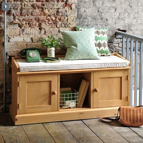 Dorchester Pine Triple Storage Bench with Cushion (M417) with Free Delivery | The Cotswold Company