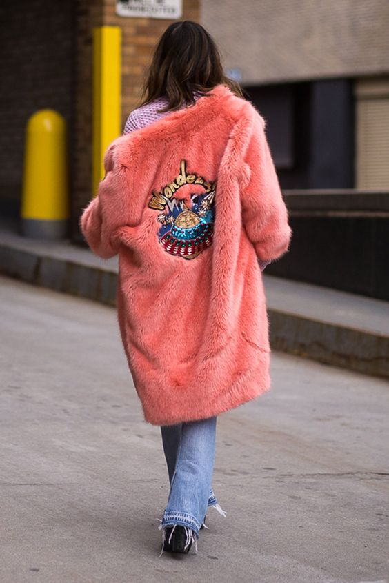 Possibly the best pink fluffy coat ever!: