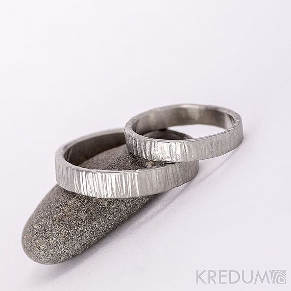 Steel WEDDING band, Womens or Mens hammered band, HANDMADE simple bark Stainless steel wedding band, band for him, for her - Wood light  This hand forged band is made of anti-allergic stainless steel. Surface resembles a tree bark and is gently polished. The inner side is smoothly ground and polished.