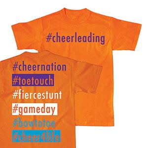 NEW and IN STOCK! Neon Orange # T-Shirt by Cheerleading Company