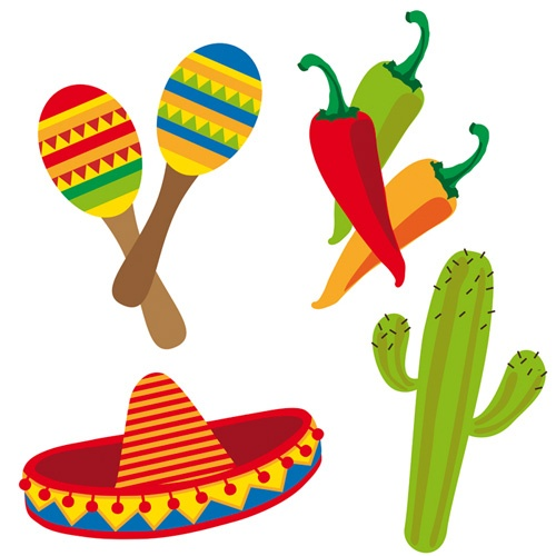 Divertidos troquelados para decorar tu fiesta mexicana o tu fiesta 5 de mayo, de www.fiestafacil.com - $2.45 para 4 / Fun cutouts to decorate your 5 de Mayo party or your mexican party, from www.fiestafacil.com