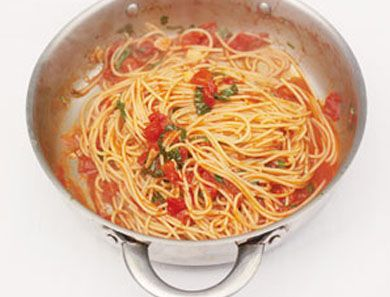 Recipe for: Classic Tomato Spaghetti. This classic dish is perfect for a busy week. Plus, tomato season turns it into the perfect summer meal.