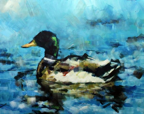 malard duck painting abstract impressionist artwork art