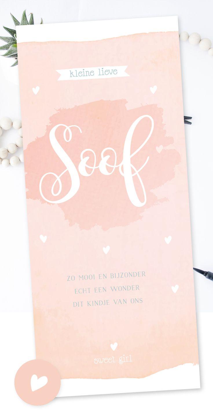 Lief geboortekaartje meisje in watercolor met hartje | peach | roze | hartjes | watercolour | aquarelle. www.charlyfine.nl