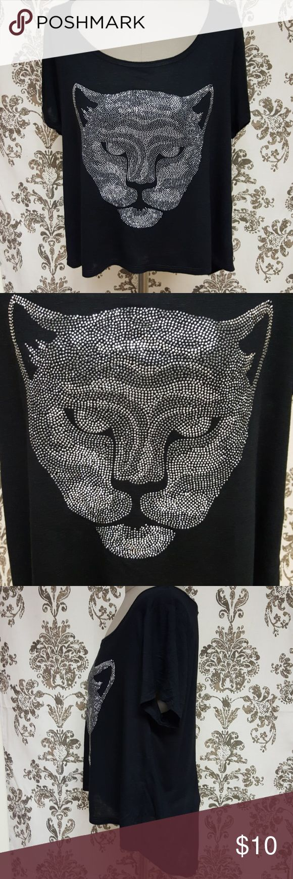 Black and silver panther top Black short sleeve top with silver rhinestone panther face on front. High-low hem. Forever 21 Tops
