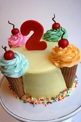 Ice Cream Cone Cake -- cute idea for a child's birthday (even one young at heart)
