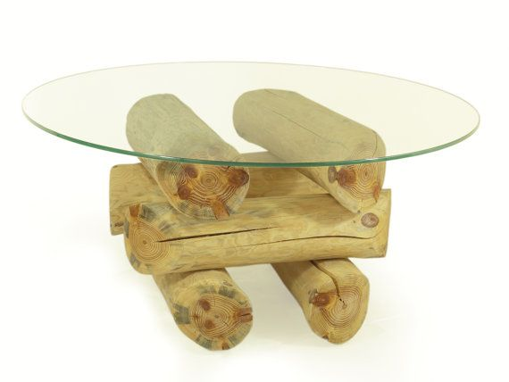 ECO FURNITURE log coffee table glass top table by FreeTreeStudio