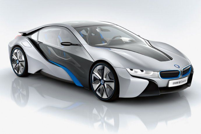 BMW i8 - Finally a truely new take in automotive design. The Vision Efficient Dynamics concept car is a plug-in hybrid with a three cylinder turbodiesel engine. Additionally, there are two electric motors with 139 horsepower. It allows an acceleration to 100 km/h (62 mph) in 4.8 seconds and an electronically limited top speed of 250 km/h (160 mph).