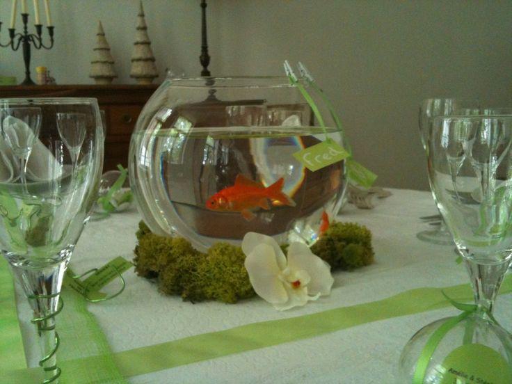 D coration de table poisson inspiration d co mariage for Deco bocal poisson