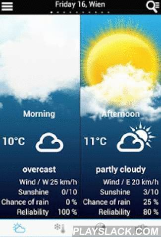 Weather For Italy  Android App - playslack.com ,  A quick and easy way to get the weather forecast for your region updated in real time by meteorologists!- Weather forecast for the morning / afternoon / evening - Rainfall radar- Select any city in the World- Value of forecast reliability - Probability of sunshine and precipitations- Perceived temperature - Average, mimimum and maximum temparature- Wind force, wind direction, gust force - Limit of snowfall - Limit zero degrees - Fog…