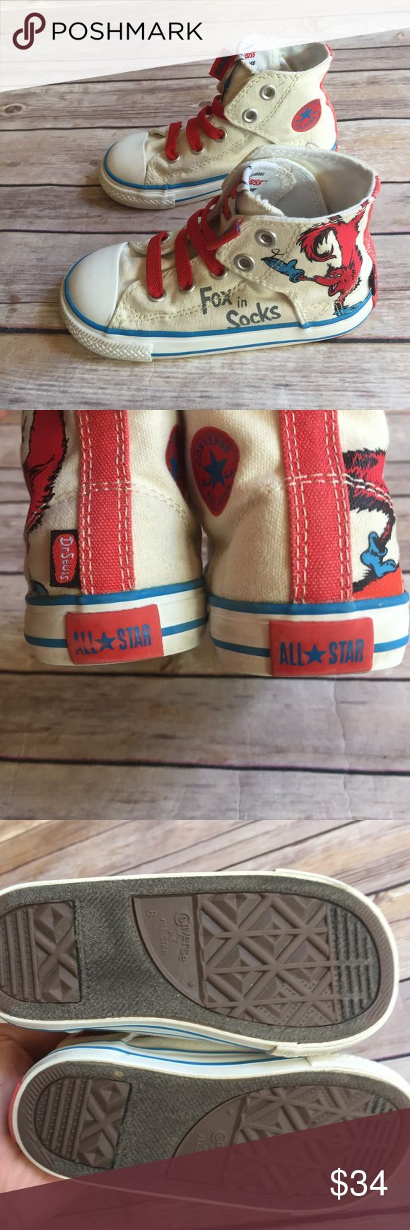 """Fox in Socks converse Size 8 toddler simple slip """"Fox in Socks"""" converse in very good used condition.  Hard to find.  Velcro closure and elastic laces.  Very minor wear on back logos. Converse Shoes"""