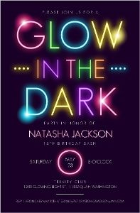 Glow In The Dark Typography Brithday Party Invitation