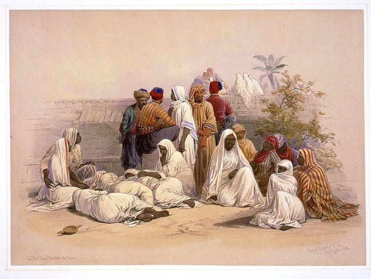 David Roberts, A Slave Market in Ciaro, 1848. This final painting shows slaves in Ciaro, if compared to other orientalists painting it becomes obvious that they are slaves through their clothing as it contrasts to the vibrant jeweled robes worn in the other paintings allowing us to wonder if as Roberts had visited the Middle East was this actually the Clothing worn as he does not just show the ideal.