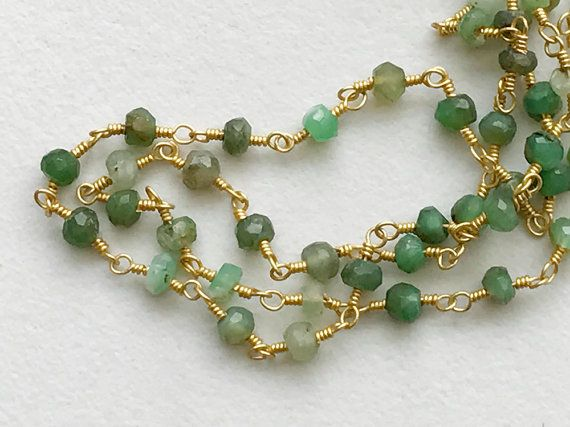 Chrysoprase Faceted Rondelle Beads in 925 Silver by gemsforjewels