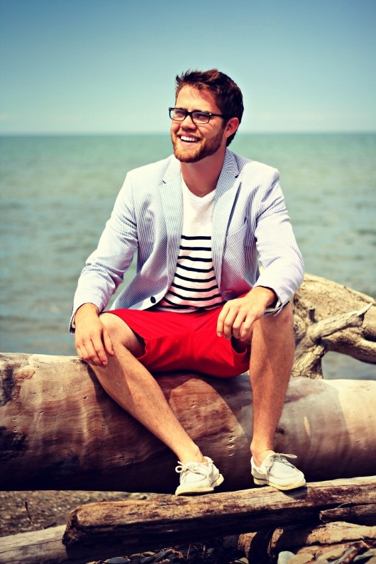 Men's Style: Seersucker Blazer   @Gap Striped Tee