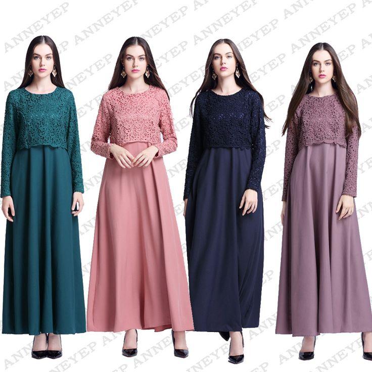 New Fashion islamic lace o neck abaya dress kaftan for Malaysia women abaya turkish long sleeve muslim dress 4 colors