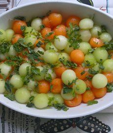 Melon Mint Salad -- honeydew & cantaloupe, sprinkle with lime juice and mint leaves. Easy peasy and delicious.